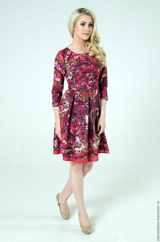 павлопосадский платок, платье из платка, платье на каждый день