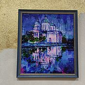 Картины и панно handmade. Livemaster - original item Painting church blue acrylic paintings 35 by 40. Handmade.