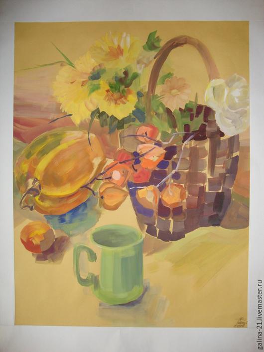 """Натюрморт ручной работы. Ярмарка Мастеров - ручная работа. Купить Натюрморт с цветами """"Корзина цветов"""". Handmade. Картина, натюрморт, цветы"""