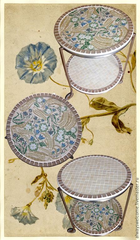 """Мебель ручной работы. Ярмарка Мастеров - ручная работа. Купить Столик """"Полевые цветы"""" на колесах. Handmade. Полевые цветы, васильки"""