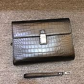 Сумки и аксессуары handmade. Livemaster - original item Crocodile leather clutch bag in black!. Handmade.