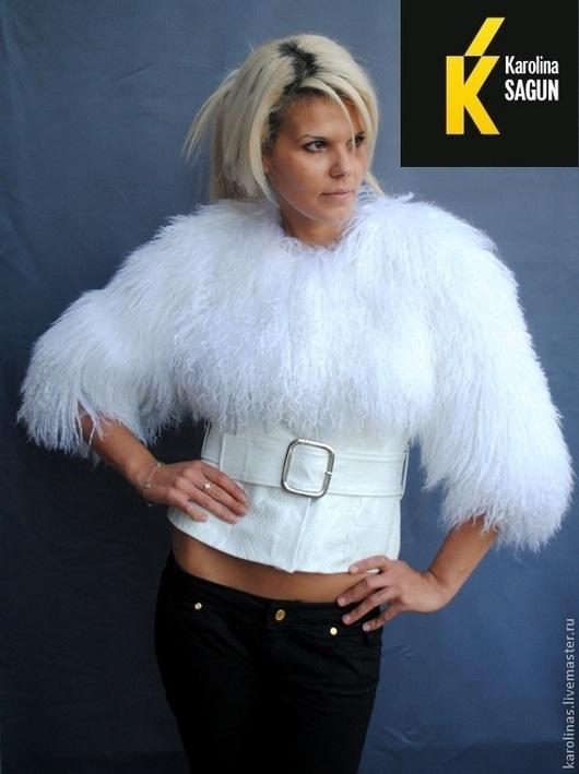 Верхняя одежда ручной работы. Ярмарка Мастеров - ручная работа. Купить Болеро из белой ламы. Handmade. Белый, жилет из ламы