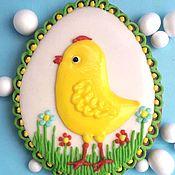 Пряники ручной работы. Ярмарка Мастеров - ручная работа Имбирный пряник Пасхальное яйцо . Пряник Яйцо с цыпленком большое. Handmade.