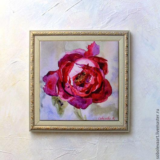 """Картины цветов ручной работы. Ярмарка Мастеров - ручная работа. Купить Картина Акварелью Бордовый Пион """"Вишневый ликер"""" картина с пионом. Handmade."""