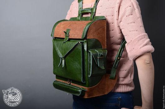 Рюкзаки ручной работы. Ярмарка Мастеров - ручная работа. Купить Кожаный рюкзак. Handmade. Тёмно-зелёный, сумка ручной работы