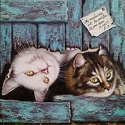 Картины и панно handmade. Livemaster - original item Oil Painting My two cats Bo and Bu. Handmade.