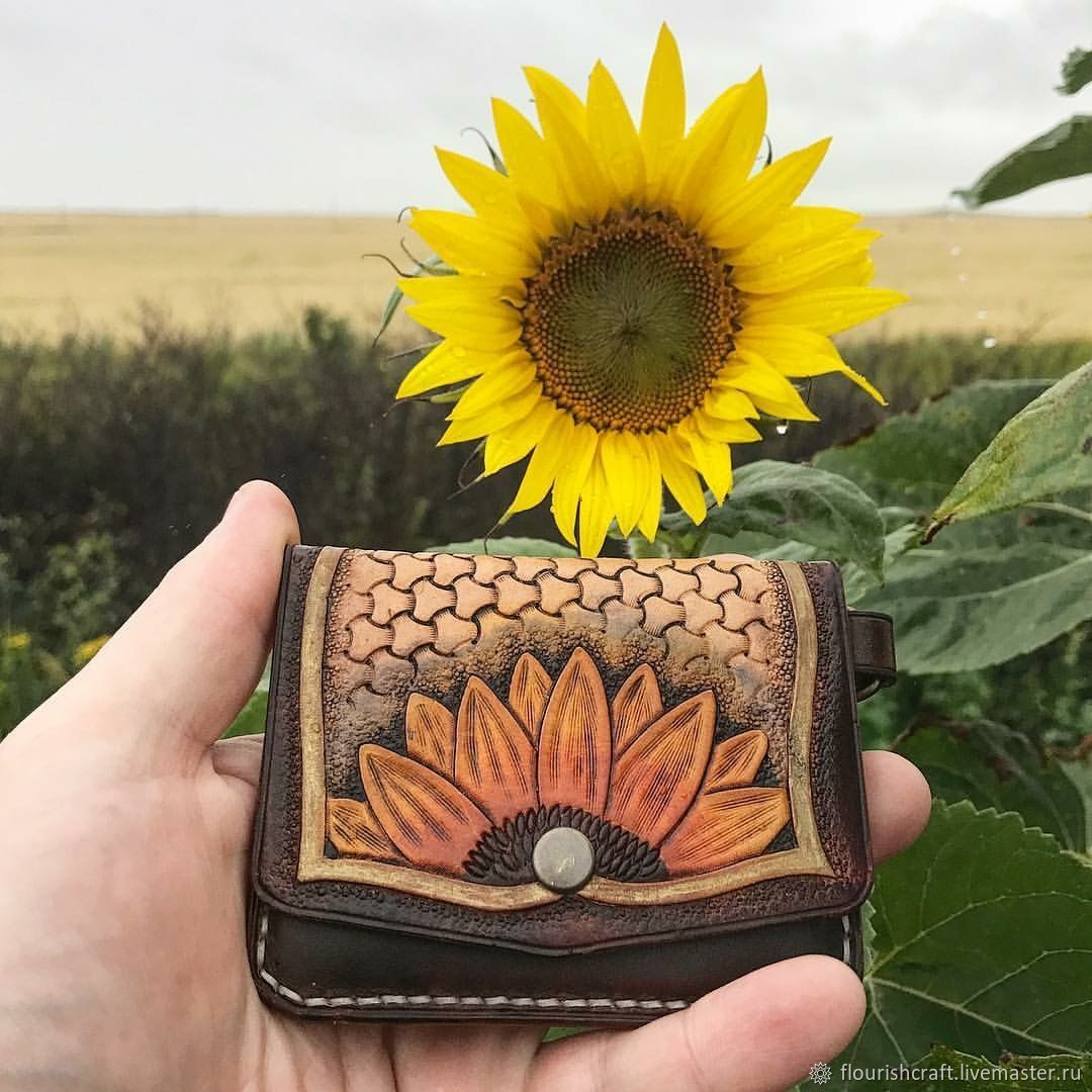"""Leather wallet  cardholder """"Sunflower"""", Cardholder, Odintsovo,  Фото №1"""