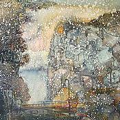 """Картины и панно ручной работы. Ярмарка Мастеров - ручная работа Панно шелковое батик """"Первый снег"""". Картина для интерьера. Handmade."""