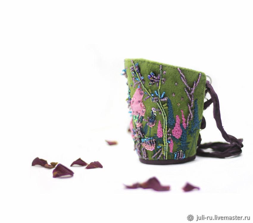 Браслет манжета с авторской вышивкой Мелодия цветов, Браслет-манжета, Челябинск,  Фото №1