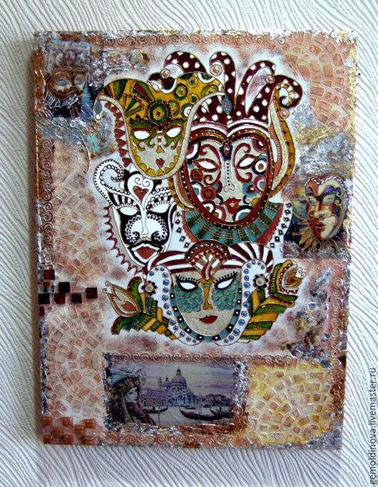 Фантазийные сюжеты ручной работы. Ярмарка Мастеров - ручная работа. Купить панно Маски Венеции. Handmade. Комбинированный, декупаж