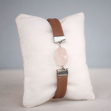 Decorations handmade. Livemaster - original item Amulet with rose quartz bracelet on the hand of eco leather. Handmade.