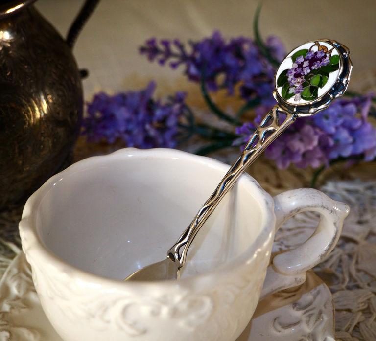 Silver spoon 'lilac' - a mosaic, silver, Spoons, Prague,  Фото №1
