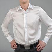 """Одежда ручной работы. Ярмарка Мастеров - ручная работа Мужская рубашка шёлковая белая """"Leonardo"""". Handmade."""