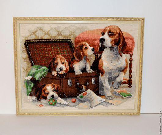 """Животные ручной работы. Ярмарка Мастеров - ручная работа. Купить Картина вышитая крестиком """"Собачье семейство"""" от Риолис. Handmade. Коричневый"""
