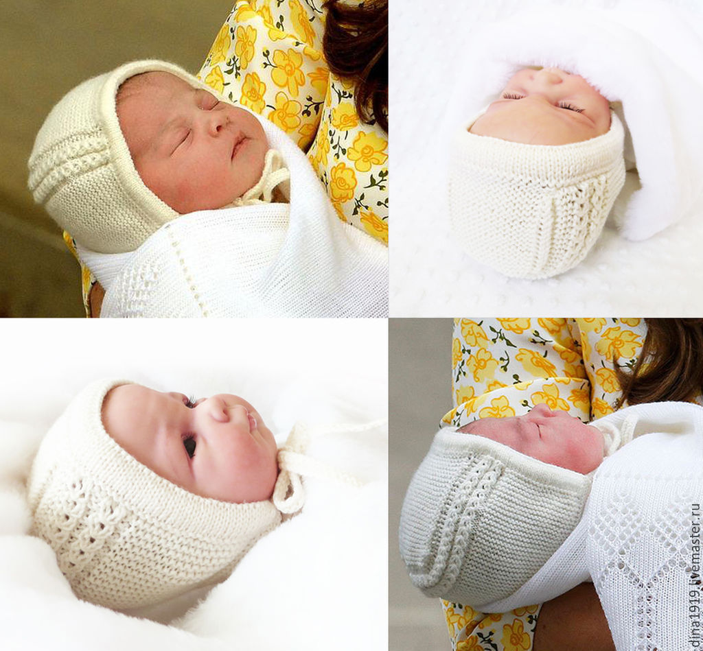 Вязание спицами чепчик новорожденному