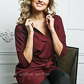 """Одежда ручной работы. Ярмарка Мастеров - ручная работа Свободное платье на каждый день """"Птичка на проводе"""" бордового цвета. Handmade."""