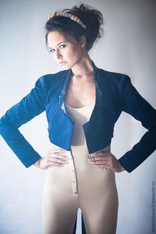 """Пиджаки, жакеты ручной работы. Ярмарка Мастеров - ручная работа. Купить Жакет """"BLER"""". Handmade. Тёмно-синий, блеск"""