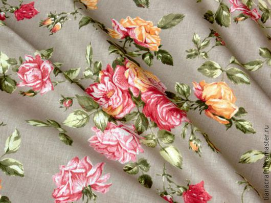 Ткань полулен  `Шиповник`. Купить ткань  для штор, скатерти, подушек