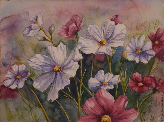 """Картины цветов ручной работы. Ярмарка Мастеров - ручная работа. Купить Акварель """"Космеи"""". Handmade. Сиреневый, цветы, полевые цветы"""