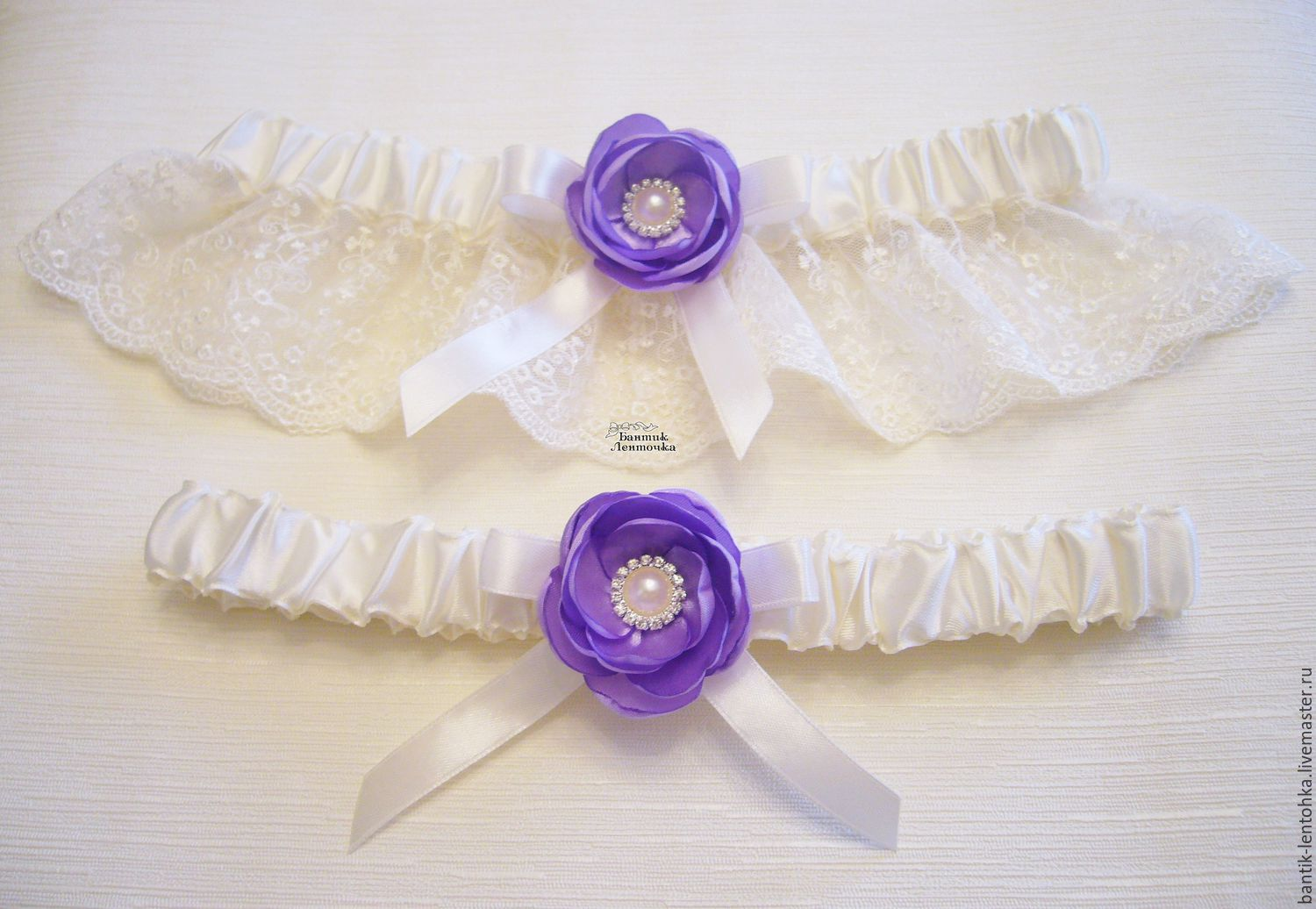 Set of garters 'Lilac Caprice', Garter, Moscow,  Фото №1