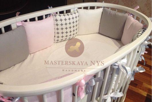 Детская ручной работы. Ярмарка Мастеров - ручная работа. Купить Бортики подушки со съемным чехлом кроватка стокке. Handmade.