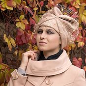 """Аксессуары handmade. Livemaster - original item Chalma, turban,"""" beige"""" wool, felted. Handmade."""