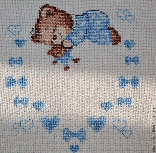 """Вышивка крестиком """"Метрика для мальчика"""" прекрасный подарок на рождение малыша."""