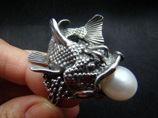 """Кольца ручной работы. Ярмарка Мастеров - ручная работа. Купить Кольцо """"Рыба-кит"""". Handmade. Серебряный, серебро"""