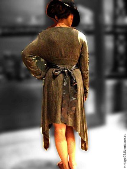 Одежда. Ярмарка Мастеров - ручная работа. Купить Винтаж кардиган с атласным поясом. Handmade. Серый, винтаж, женский кардиган, трикотаж