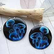Украшения handmade. Livemaster - original item Transparent earrings made of Blue Resin Earrings Earrings Magic Mushroom Neon. Handmade.