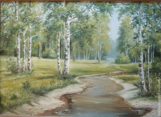 Пейзаж ручной работы. Ярмарка Мастеров - ручная работа. Купить Лес. Handmade. Зеленый, картина для интерьера, пейзаж маслом
