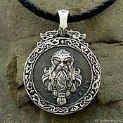"""Украшения handmade. Livemaster - original item Pendant / Amulet """"One / Valknut"""" double-sided of silver 925. Handmade."""