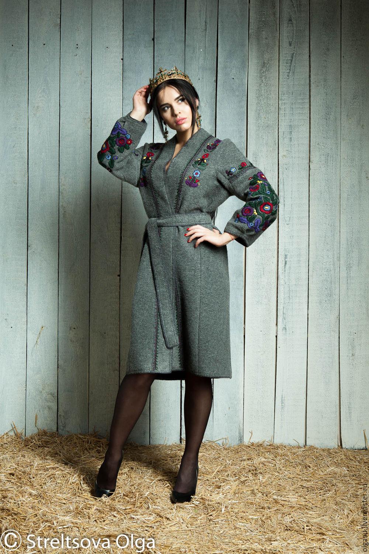 Пальто демисезонное с вышивкой, Пальто, Винница,  Фото №1