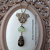 Украшения handmade. Livemaster - original item The openwork pendant with black agate and prehnite. Handmade.