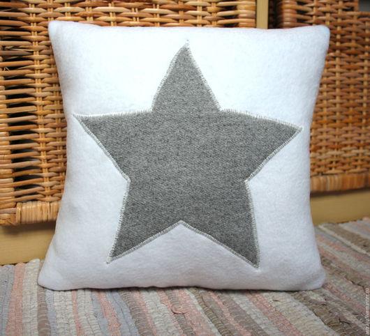 Текстиль, ковры ручной работы. Ярмарка Мастеров - ручная работа. Купить Подушка Звезда белая. Handmade. Белый, подарок на новоселье