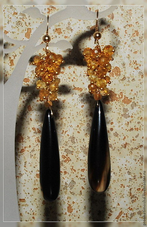 Серьги ручной работы. Ярмарка Мастеров - ручная работа. Купить серьги позолоченные с ониксом и цитринами. Handmade. Позолоченные серьги, золотой
