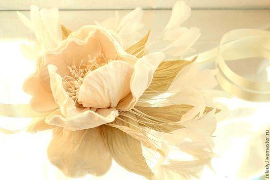 """Цветы ручной работы. Ярмарка Мастеров - ручная работа. Купить Пион  """"Луч солнца золотого"""". Handmade. Цветы из ткани, перья"""
