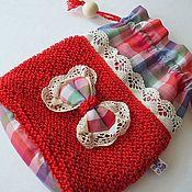Косметички ручной работы. Ярмарка Мастеров - ручная работа Косметичка Марта- маленькая текстильная сумочка из хлопка красная. Handmade.