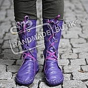 Обувь ручной работы handmade. Livemaster - original item boots leather moccasins with laces purple. Handmade.