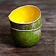 Кружки и чашки ручной работы. Ярмарка Мастеров - ручная работа. Купить пиалы солнечный мох. Handmade. Желтый, Керамика, глина
