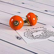 Материалы для творчества ручной работы. Ярмарка Мастеров - ручная работа Декоративная ручка из керамики оранжевая. Handmade.