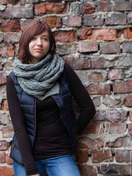 Шарф, снуд, серый, тёплый снуд,  тёплый шарф, комплект  шапка шарф, комплект шапка снуд, купить снуд, купить шарф, купить подарок, шарф унисекс, стильный шарф