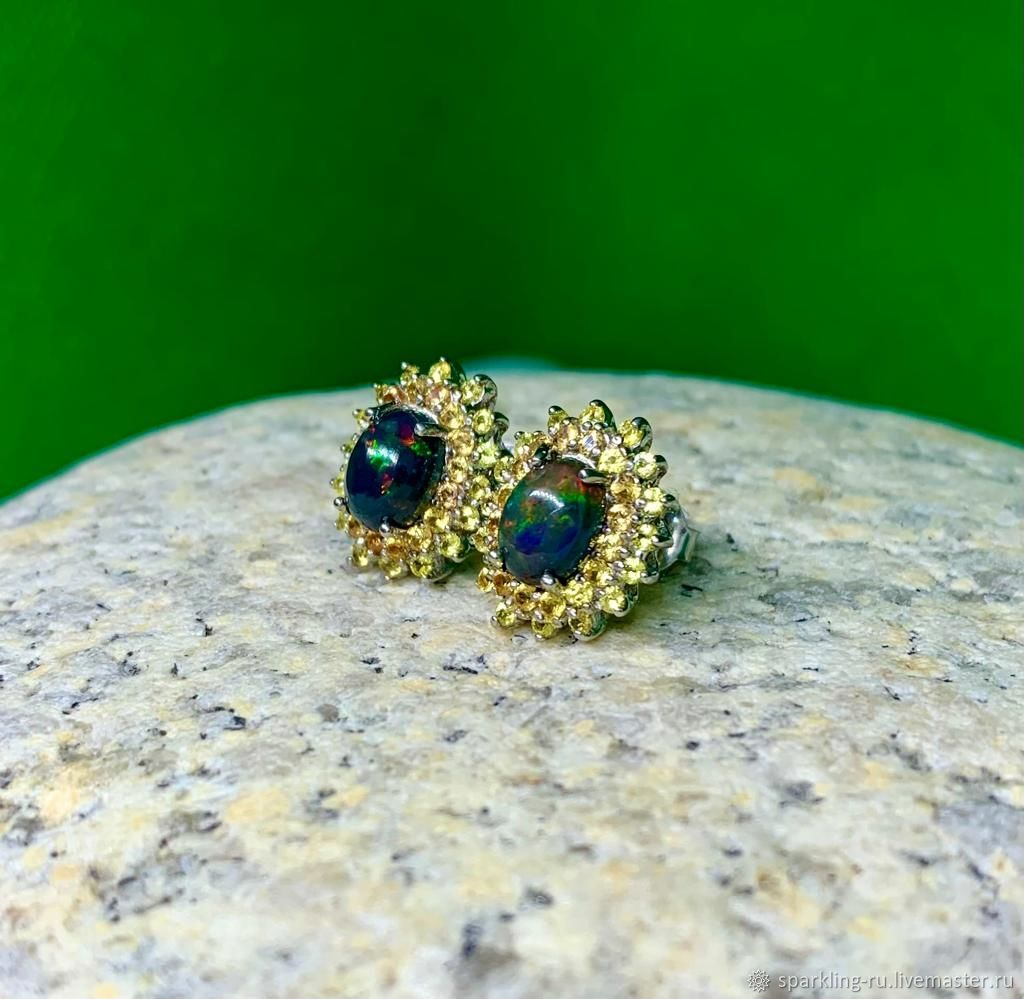 Silver stud earrings with opal and sapphires, Stud earrings, Moscow,  Фото №1