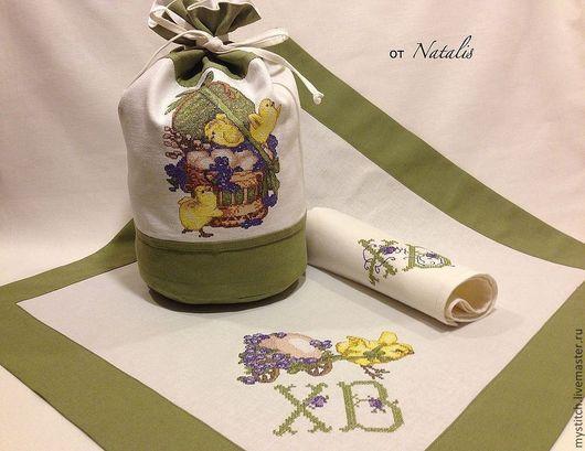 """Подарки на Пасху ручной работы. Ярмарка Мастеров - ручная работа. Купить Пасхальный набор из льна """"Маленькие птенцы"""". Handmade."""