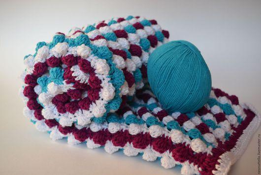 Текстиль, ковры ручной работы. Ярмарка Мастеров - ручная работа. Купить Реквизит для фотосессий плед в полоску. Handmade. Разноцветный, вязанный