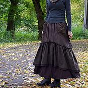 "Одежда handmade. Livemaster - original item Юбка в стиле бохо с кармашками ""Теплый шоколад"". Handmade."