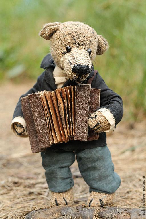 """Мишки Тедди ручной работы. Ярмарка Мастеров - ручная работа. Купить .Мишки Тедди.""""..одинокая бродит гармонь"""".. Handmade."""