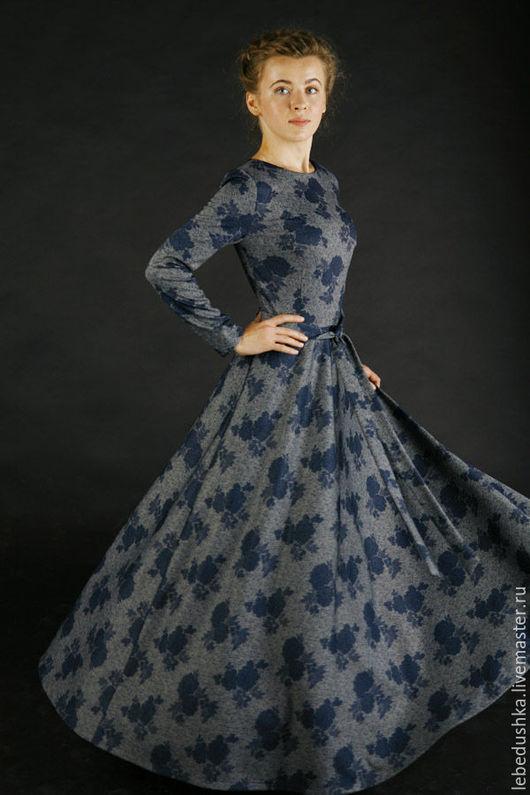 """Платья ручной работы. Ярмарка Мастеров - ручная работа. Купить Длинное платье """"Вечерний вальс"""". Handmade. Комбинированный, платье на осень"""