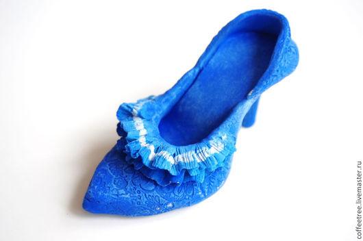 Миниатюрные модели ручной работы. Ярмарка Мастеров - ручная работа. Купить туфля для Золушки. Handmade. Синий, туфля из полимерной глины