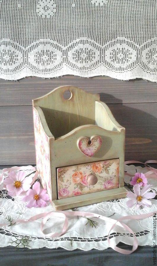 Мини-комоды ручной работы. Ярмарка Мастеров - ручная работа. Купить Комодик деревянный Мятный с розами  в стиле шебби,винтаж. Handmade.